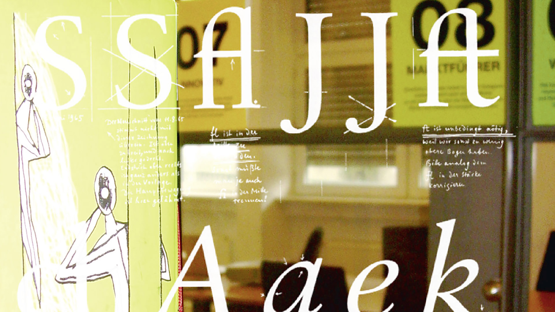 Glasbedruckung Typografie Seminarraum